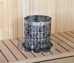 piec harvia ciliondro wbudowany w ławę
