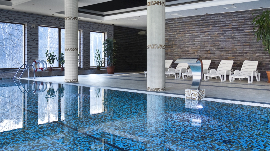 projekt wizualizacja basenu wewnętrznego w eleganckim hotelu spa
