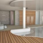 basen z drewnianą podłogą i ścianami aranżacja wnętrza projekt