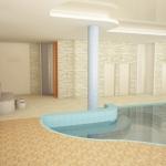 nowoczesny basen z kamienną ścianą wizualizacja wnętrza