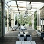 projekt wizualizacja ogrodu zimowego restauracji hotelu