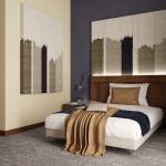 projekt wnętrza sypialni w pokoju hotelowym styl nowoczesny