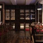 projekt wnętrza winiarni z szafą do przechowywania win wizualizacja 3d
