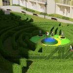 wizualizacj placu zabaw dla dzieci roślinny labirynt