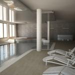 wizualizacja basenu hotelowego z plażą basenową i wanną jacuzzi