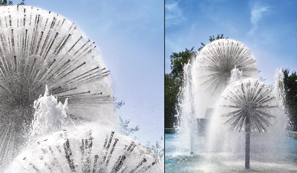 gs5 fontanna kula z dyszami tworzącymi kształt kuli
